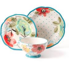 wall decor sets bloom the pioneer woman vintage bloom  piece decorated dinnerware set walmar