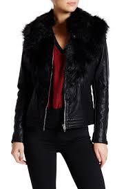 image of blanknyc denim control freak faux fur faux leather jacket