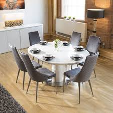 extending round oval dining set white gloss table 6 grey velvet chairs