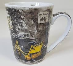 Dora Papis Design Yellow Bicycle Coffee Mug Cup French Paris Vintage Style