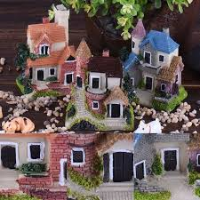 fairy garden castle. Mini Castle Fairy Garden Miniatures Castles Terrarium Figurines Decoration Miniature House Villa Woodland A