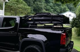 truck bed rack low profile over the tonneau cover system with diy for roof top tent truck bed