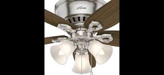 hunter 51092 builder low profile 42 inch 3 light ceiling fan in brushed nickel with 5