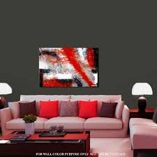 zero gravity silver black white red abstract painting