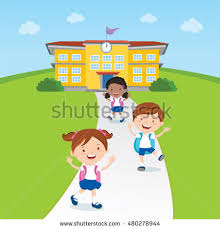 stock vector student going home from school vector illustration of a school kids and school building