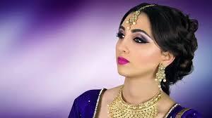 asian stani indian bridal makeup tutorial purple smokey