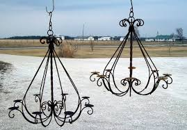 wrought iron braided candle chandelier outdoor patio wrought lighting 10 full size