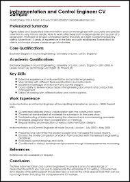 Instrumentation and Control Engineer CV Sample