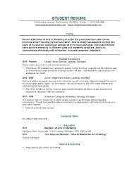 Resume Profile For College Student Sample College Student Resume Airexpresscarrier Com