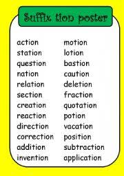 These th worksheets help improve literacy, phonics, spelling skills! Suffix Posters Esl Worksheet By Fleur