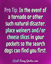 Pro Tip In The Event Of A Tornado Or Other Such Natural Disaster