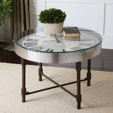 industrial round table with clock circular coffee end stand rivets glass top den