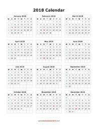 yearly printable calendar 2018 blank calendar 2018