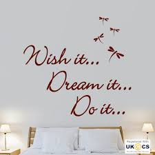 wish dream do quote motivation dragonfly hall wall  on dream wall art uk with wish dream do quote motivation dragonfly hall wall art stickers
