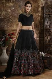 Lehenga Choli Designs Festive Special Traditional Wear Art Silk Embroidered Designer Lehenga Choli In Black