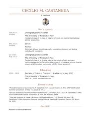 Undergraduate Researcher Resume samples