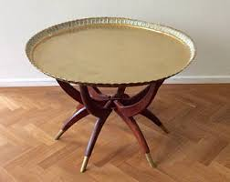 Vintage Brass Coffee Table Spider Leg Base Mid Century Folding Base  Moroccan Style Heavy Brass Round