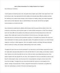 Letter Of Recommendation Teacher Sample Teacher Letters Of Recommendation 6 Free Documents