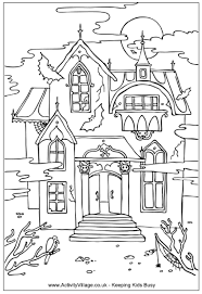 Small Picture Haunted House Colouring Page 5