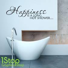 wall arts bathroom wall art stickers happiness is a long hot shower sticker e uk