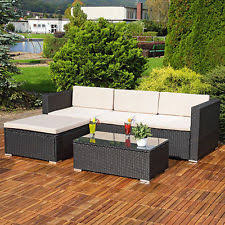 garden patio furniture. RATTAN GARDEN FURNITURE SET CORNER SOFA LOUNGER TABLE OUTDOOR PATIO CONSERVATORY Garden Patio Furniture