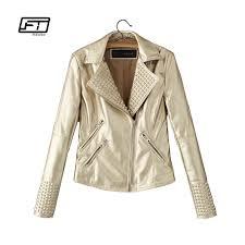 fitaylor new women autumn faux leather jacket punk short pu slim rock biker coat rivet motorcycle coat gold pink outwear uk 2019 from zhusa