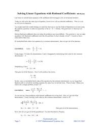 solving linear equations with rational