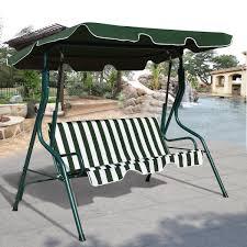 garden swing chair patio 3 seater metal hammock swinging canopy bench lounger