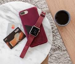 gvine iphone leather case and an apple watch