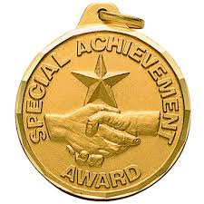 "1-1/4 Inch Diamond Cut Border ""Special Achievement Award"" Handshake with  Star Medal"