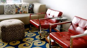 red accent chair Living Room Eclectic with bold colors decorative