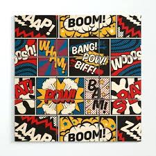 comic book wall art modern superhero pattern color colour cartoon pop wood marvel wooden