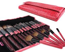 bundle monster 15pc studio pro makeup make up cosmetic brush set kit w pink faux crocodile case for eye shadow blush eyeliner etc amazon co uk