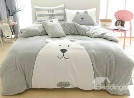 bear bedding sets full size cartoon bear pattern grey soft 4 piece fluffy bedding sets duvet cover pooh bear cot quilt sets