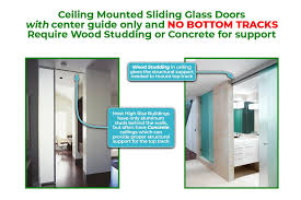 ceiling mounted sliding doors with no bottom tracks must be studded