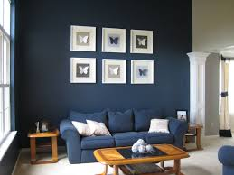Pretty White Picture Frame With Wooden Material On Dark Blue Painted Wall  Together Black White Butterfly