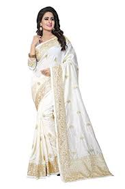 odhni art silk saree with blouse piece le zoya 509 white free size amazon in clothing accessories