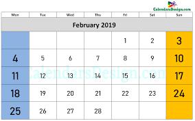 Calendar Doc February 2019 Calendar Word Doc Free 2019 Printable