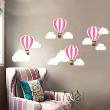 hot air balloon decor cloud wall sticker mural decal wallpaper nursery children baby decoration room bedroom whimsical hot air balloon decoration
