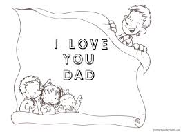 I Love You Dad Coloring Pages for Pre-school and Kindergarten ...