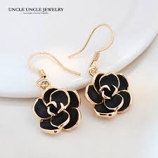 rose gold color fashion design classic black rose style woman drop earrings whole