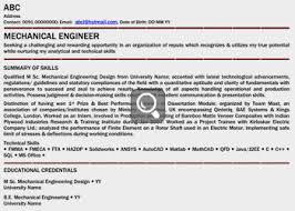 Download Resume Format For Mechanical Engineer Fresher Resume