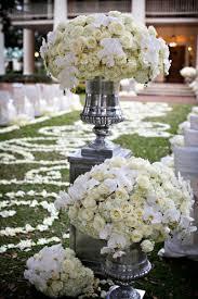 Ceremony D Cor Photos White Flower Arrangement In Silver Urn