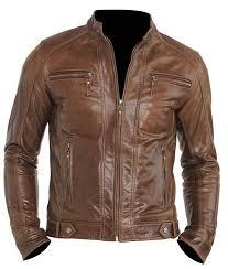 chocolate brown mens four pockets moto jacket