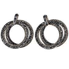 double circle hoops crystal earrings with jet black and black diamond swarovski crystal length 45mm