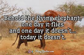 Elephant Quotes Stunning Behold The Flying Elephant One Day It Flies And One Day It Doesn't