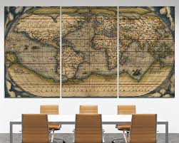 3 piece wall art old world map 3 piece wall canvas wall art vintage map