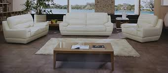 dado 3 piece italian top grain off white leather sofa set