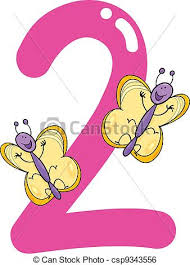 clip art vector of number two and 2 butterflies cartoon