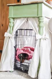 How to make a dog crate Table Diy Dog Crate Cover Ten Minute Farmhouse Style Ikea Curtain Hack For Small Spaces Hbmixco Diy Farmhouse Dog Crate Cover16 The Weathered Fox